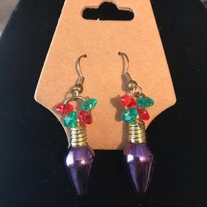 Christmas lights earrings in lavender